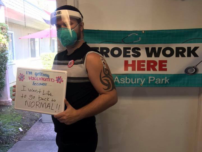 Asbury Park team getting the Covid vaccine