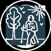 A man walking outside icon