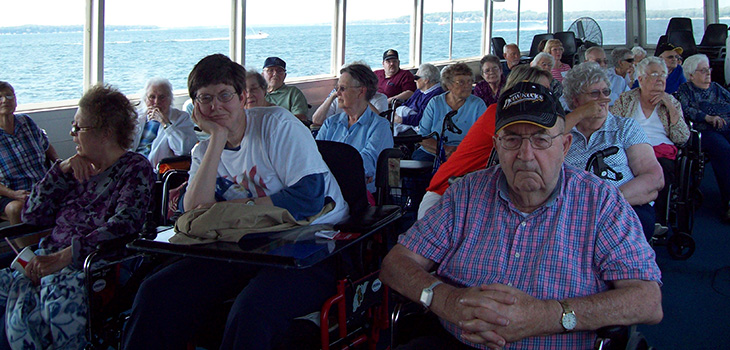 group of residents on a boat