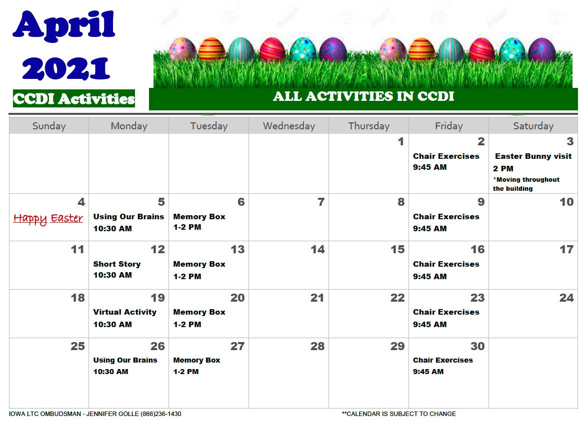 CCDI April 2020 Activity Calendar