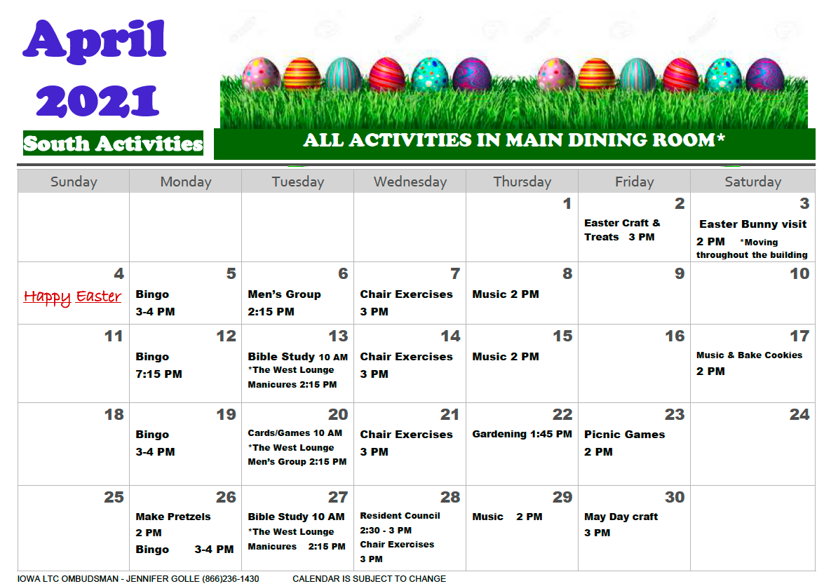 Community Memorial Health Cetner South Activity Calendar April 2021