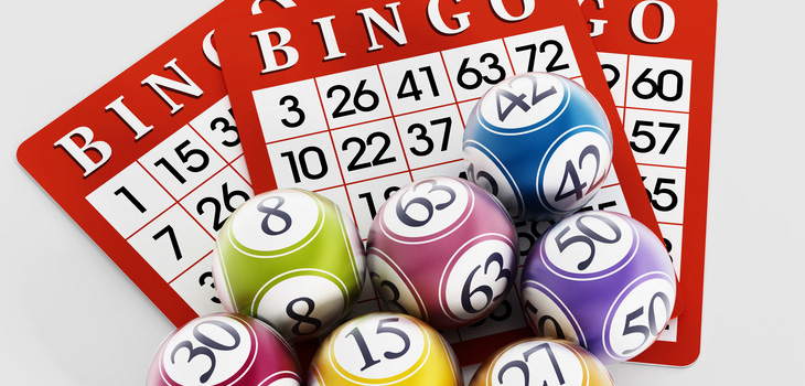 bingo balls and table