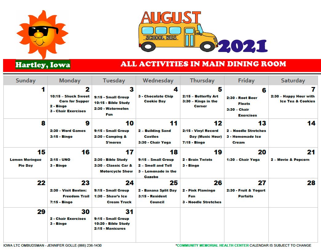 Community Memorial August calendar