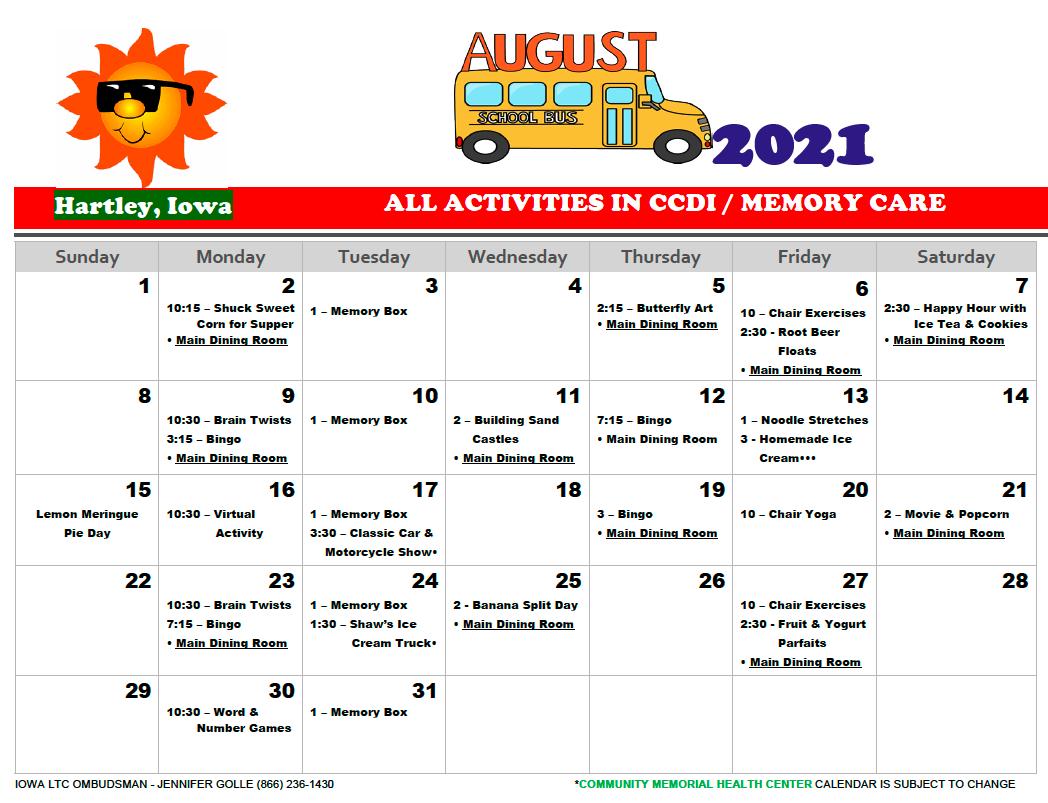 Community Memorial August CCDI calendar