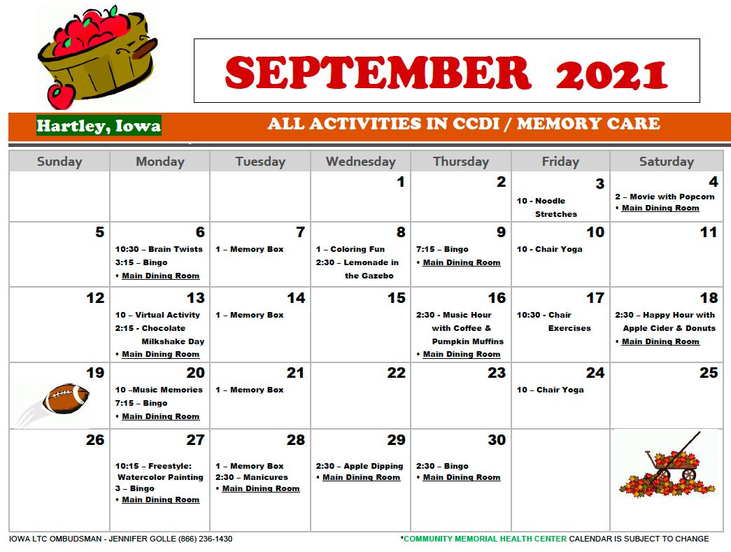 Community Memorial CCDI September Calendare