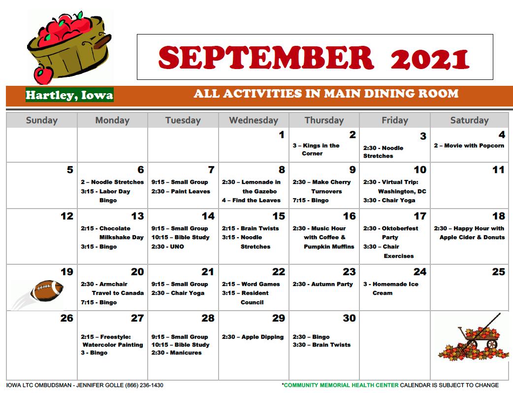 Community Memorial September Calendar