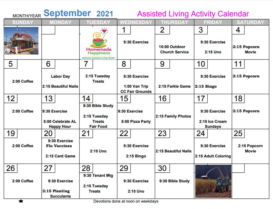 September 2021 Assisted Living Calendar For Community Memorial