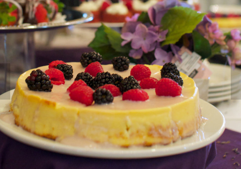Traditional favorites and freshly baked desserts, cheesecake with fruit.