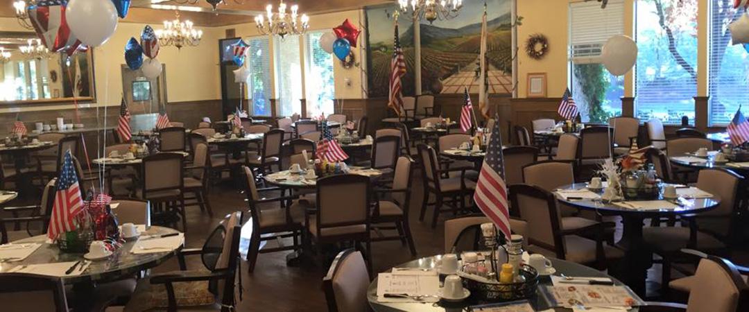 Dining area decorated patriotic