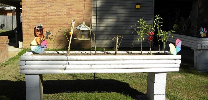 An elevated garden area.