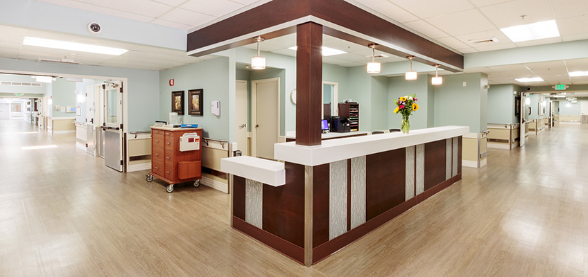 nurses station at the end of two long hallways