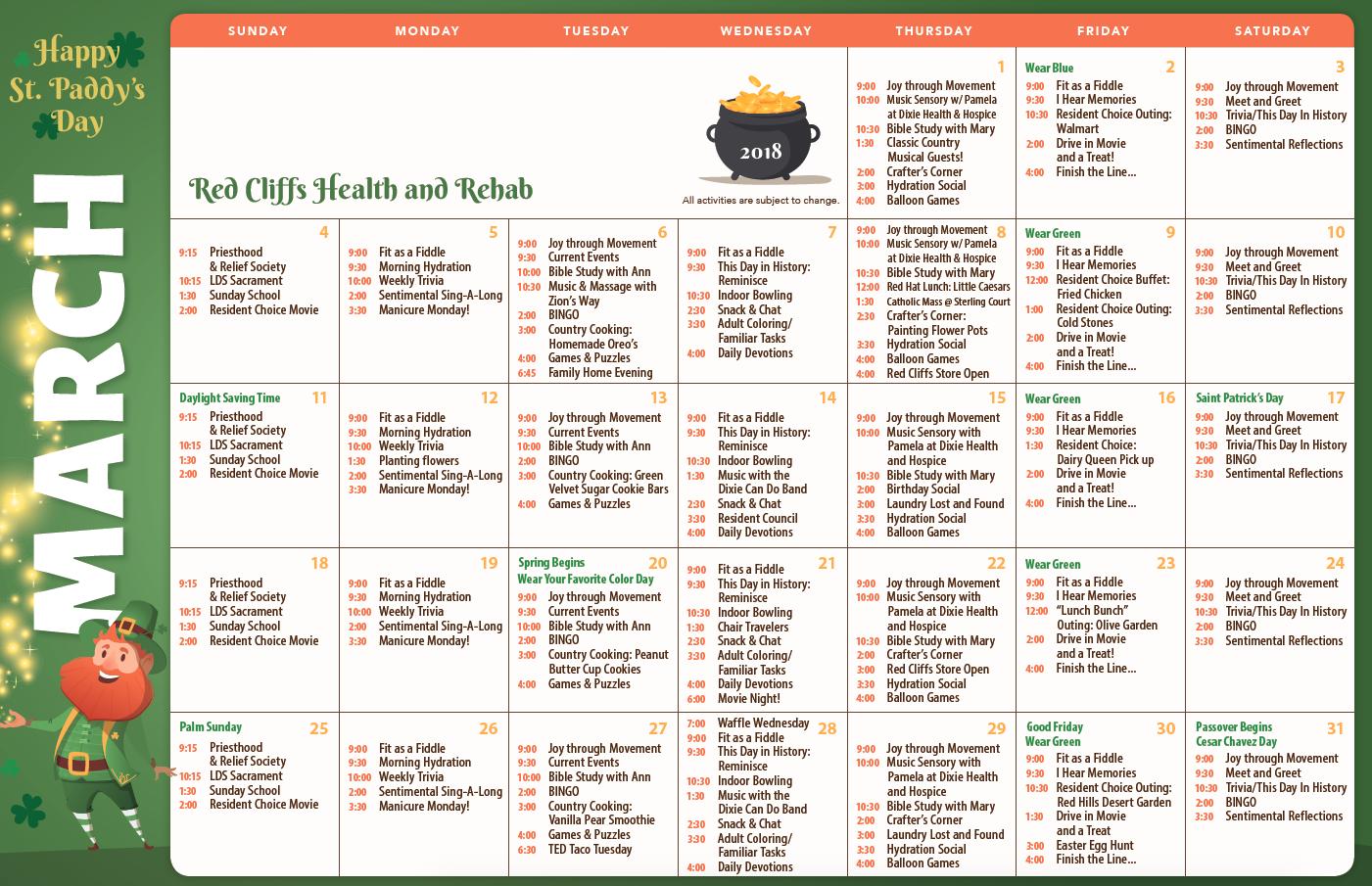 Red Cliffs March activity calendar
