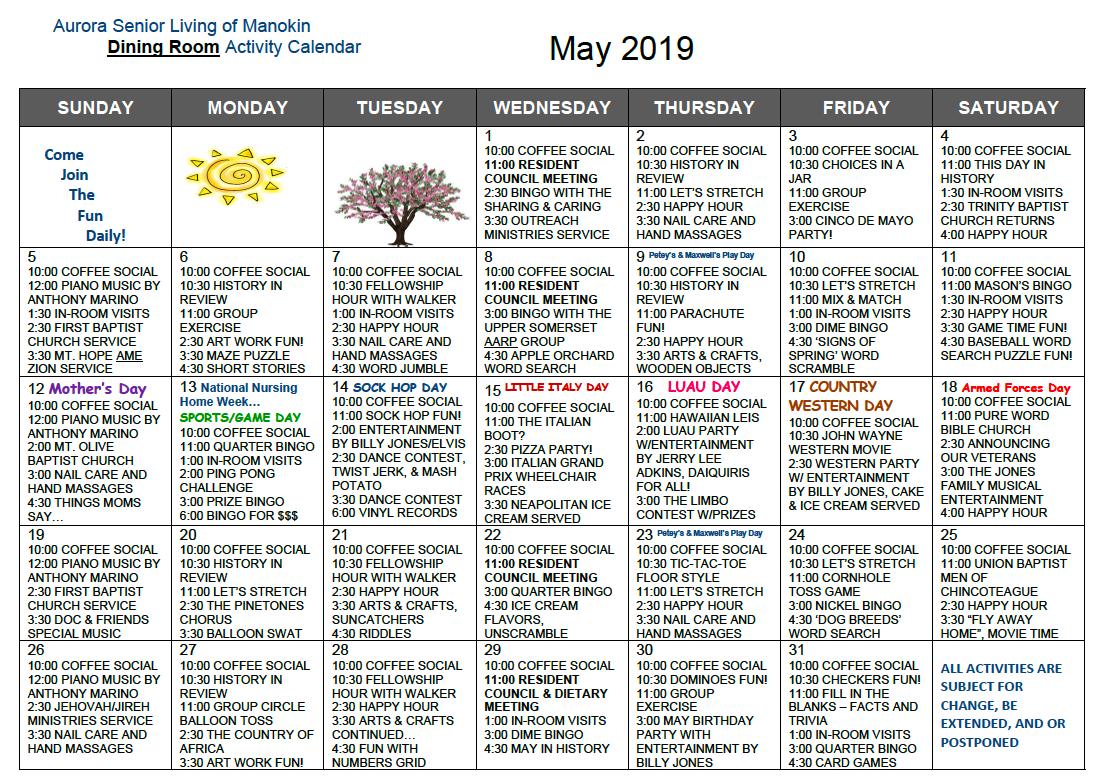 May Dining Room activity calendar for Manokin