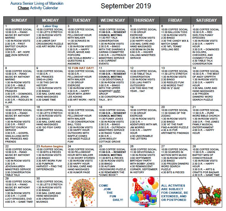 Aurora Senior Living of Manokin Chase September calendar