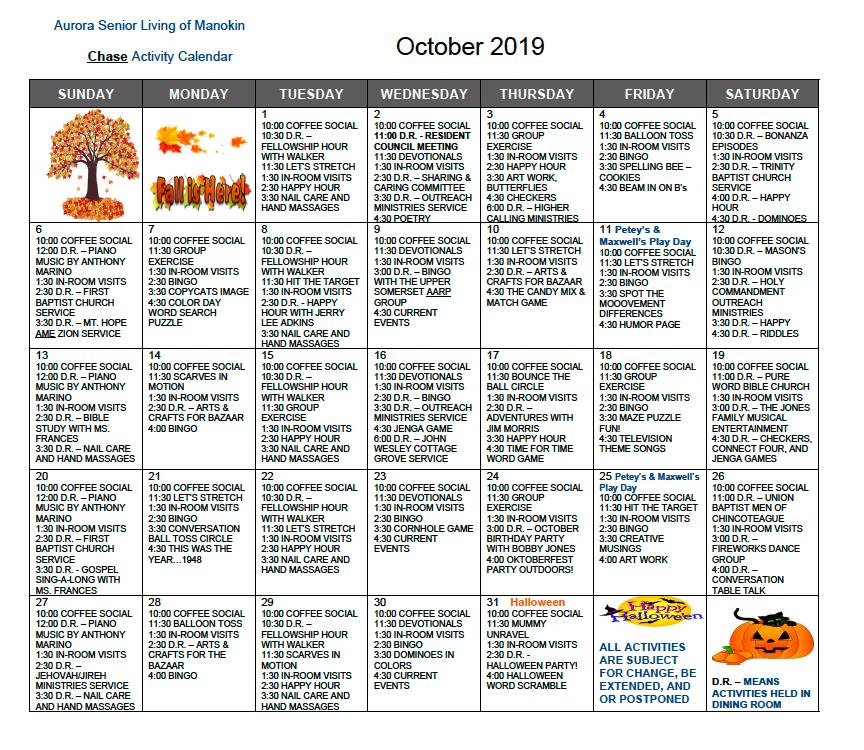 October Chase 2019 calendar