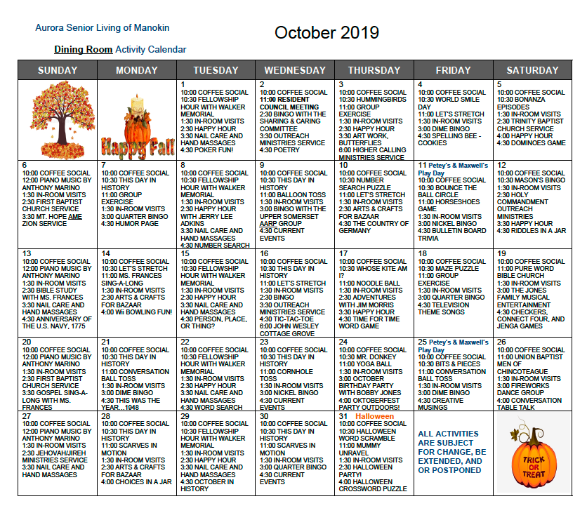 October Dining Room calendar