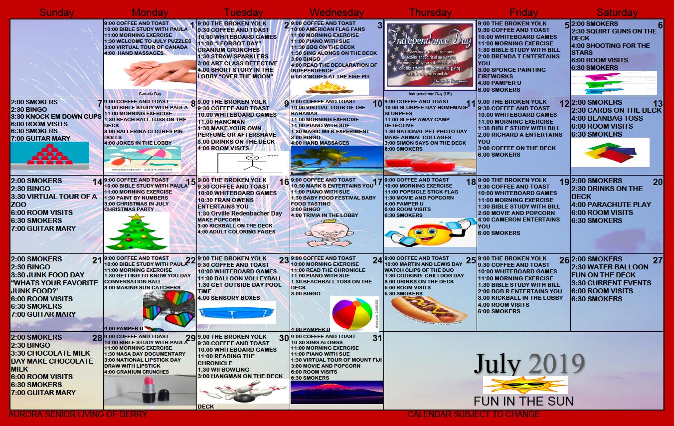 July 2019 activity calendar