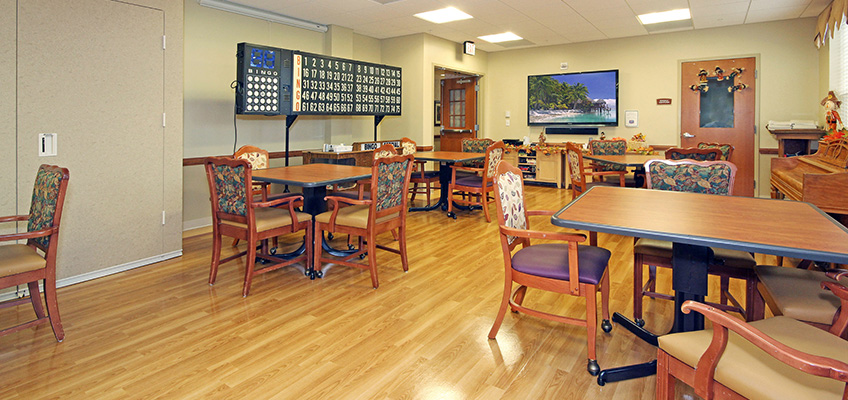 Dining room with a large bingo board