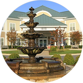 Front entrance and fountain