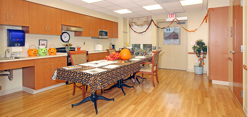 Activity room with Halloween themed activities on the table