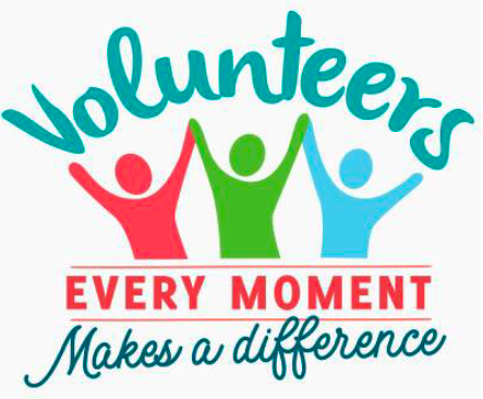 Volunteers image that reads 'Every Moment makes a difference.'