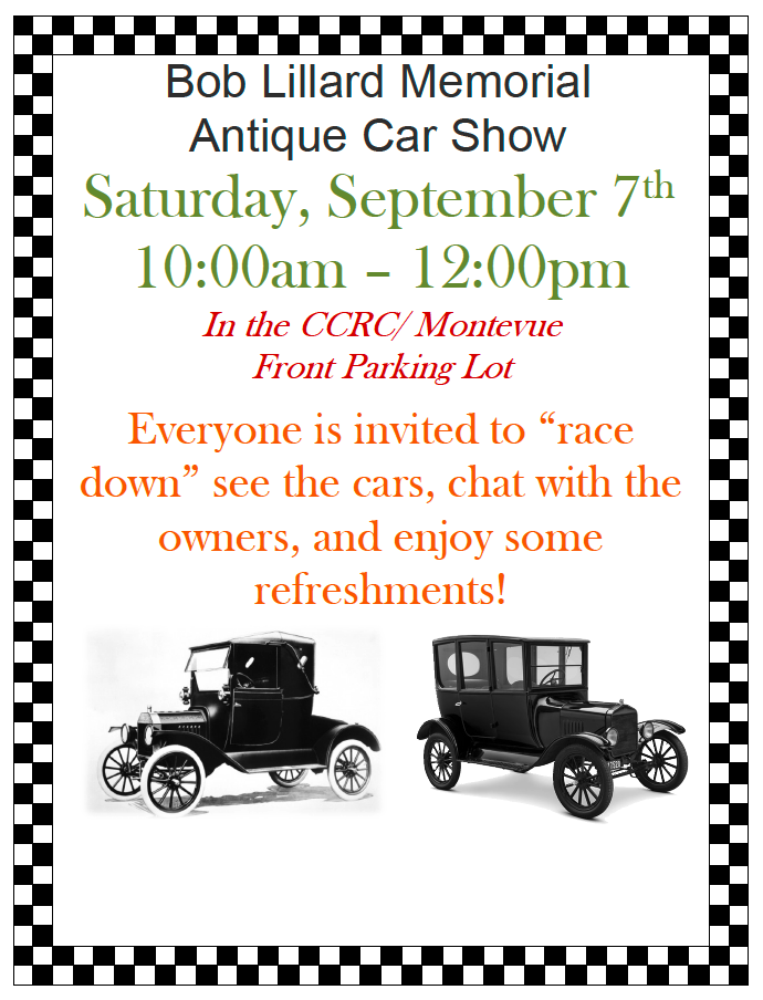 Bob Lillard Memorial Antique Care Show flyer for Saturday September seventh at ten am