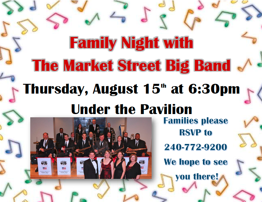 Family Night with The Market Street Big Band flyer for August 15 at six thirty pm