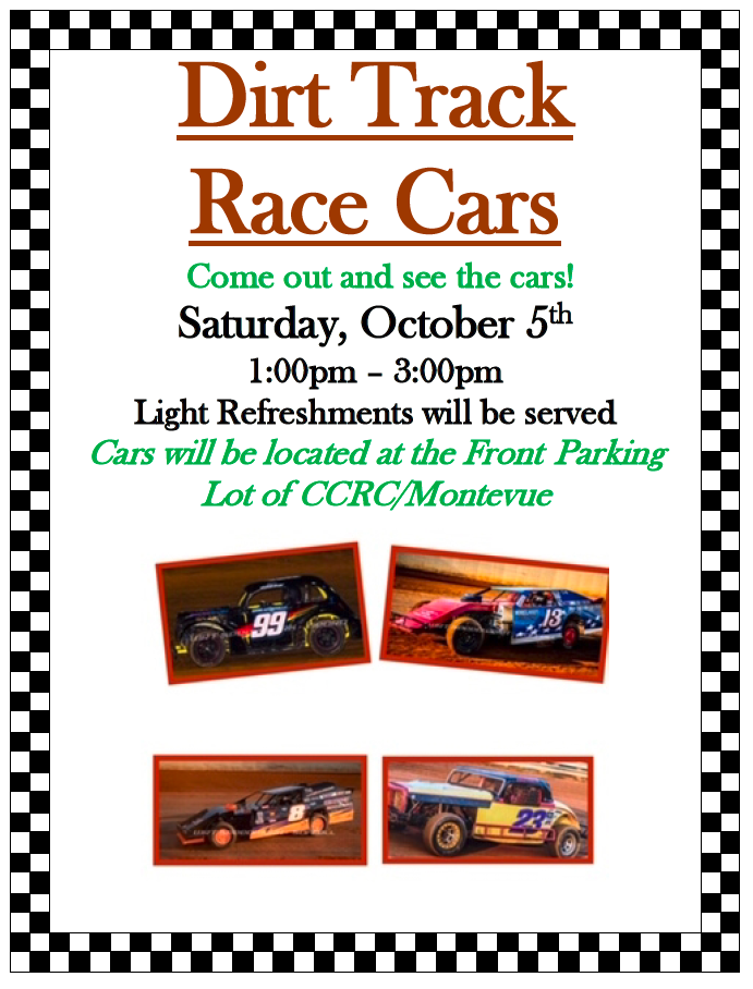Dirt Track Race Car show on October 5 at 1 pm. Come and join us.