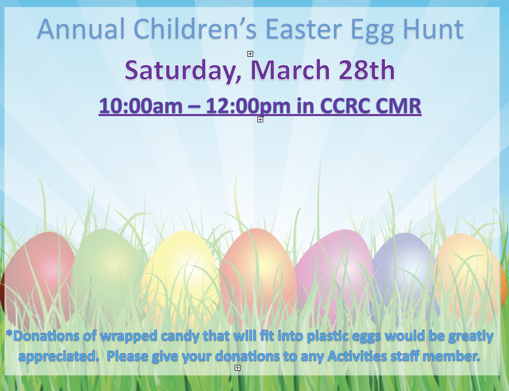 Annual Easter Egg Hunt on March 28 2020 at 10 am
