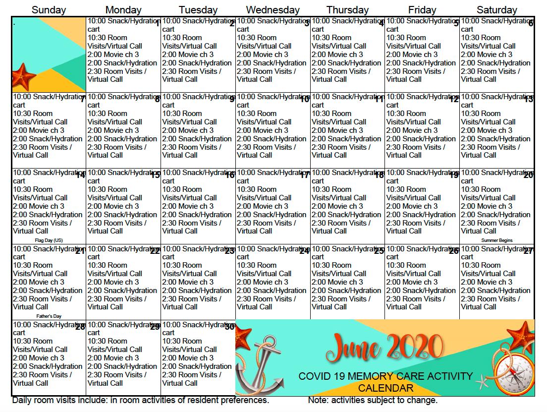 Memory Care Activity Calendar