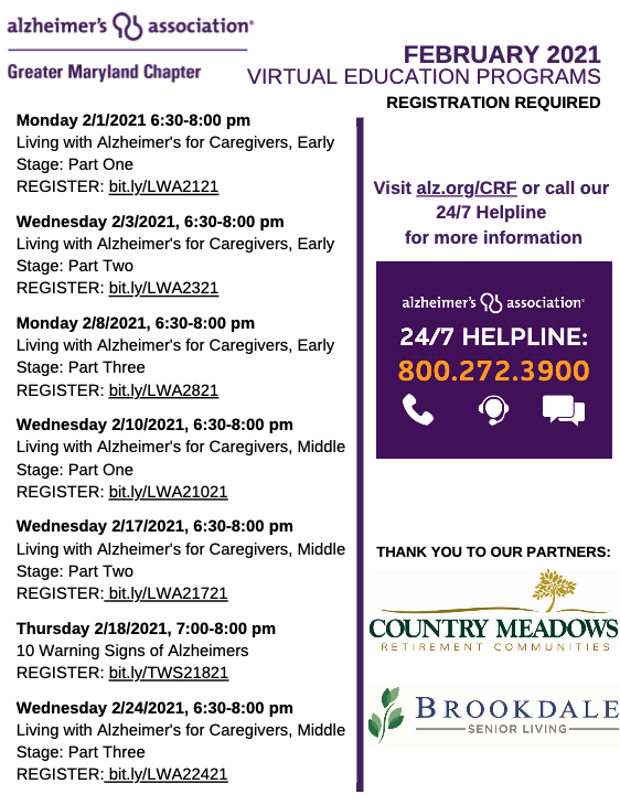 Alzheimer's Association Schedule Of Events For February 2021