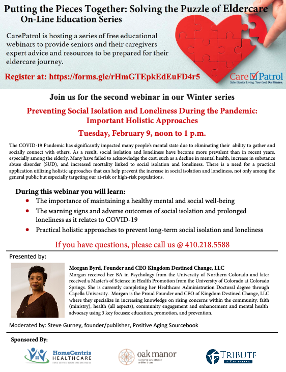 Preventing Social Isolation And Loneliness During The Pandemic Webinar February 9