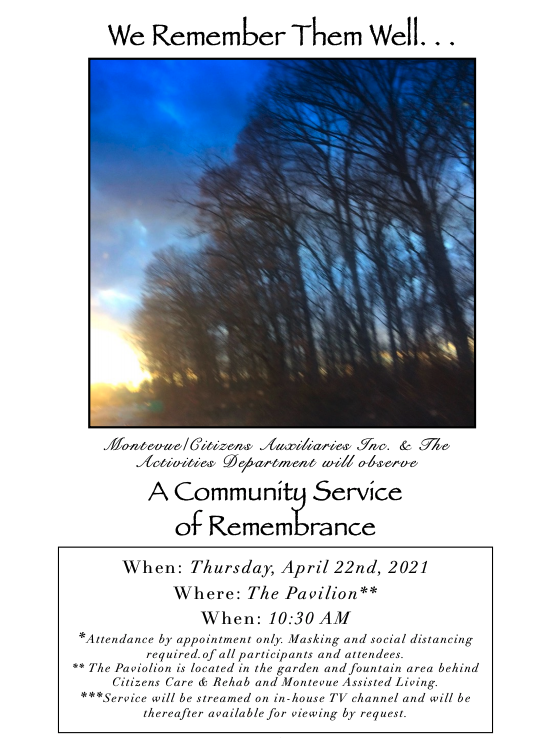 A Community Service Of Remembrance April 22 2021