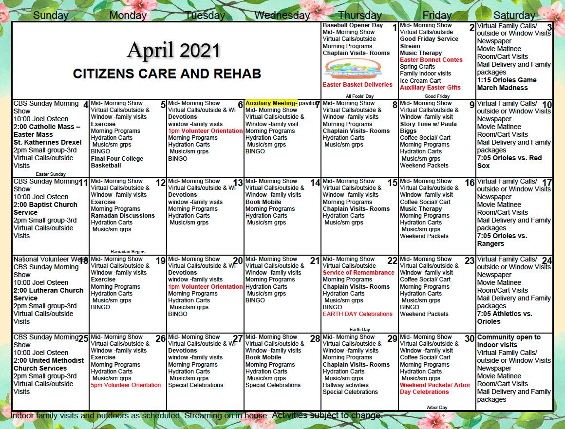 Citizens Care And Rehabilitation Center April 2021 Calendar