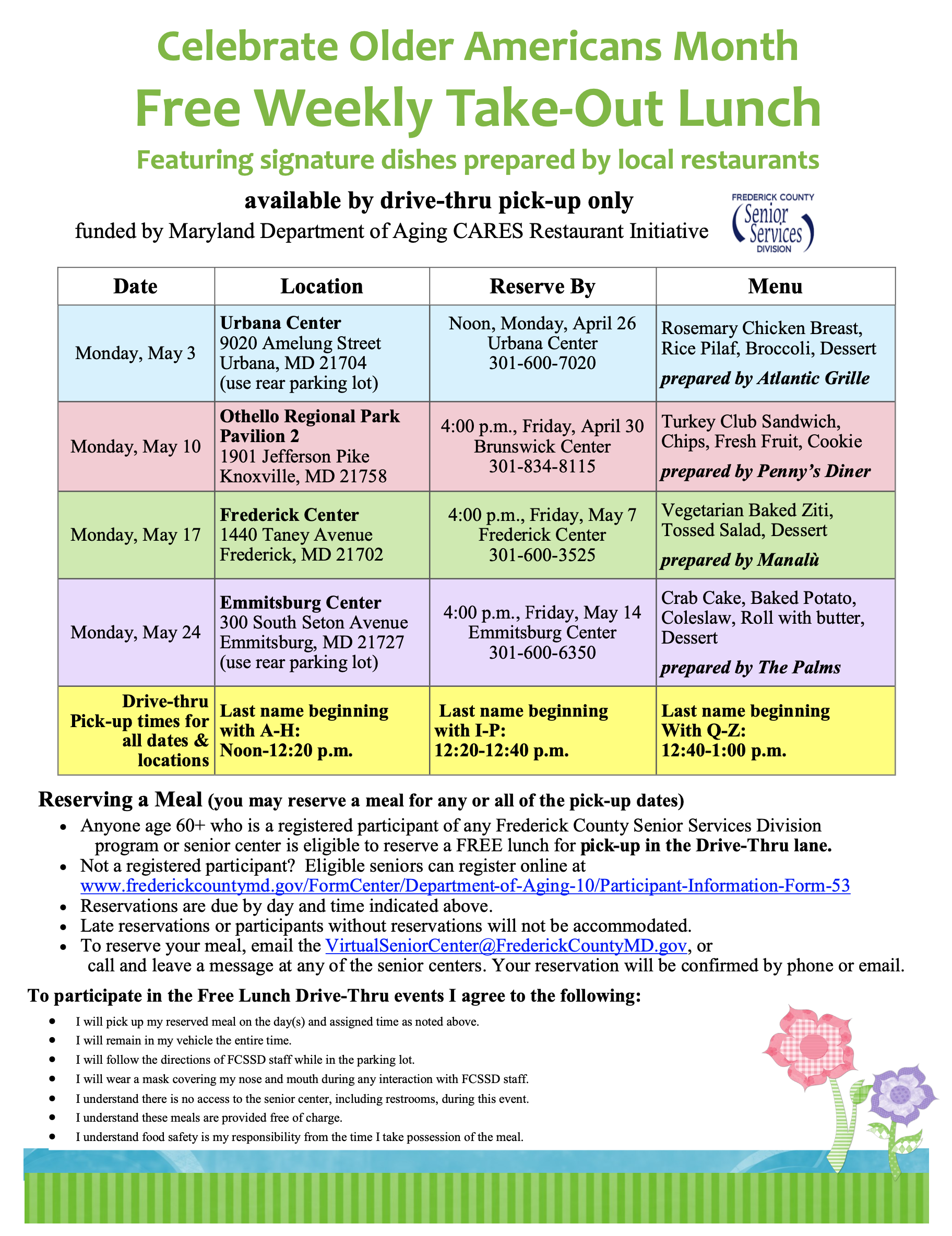 May Lunch Events Flyer