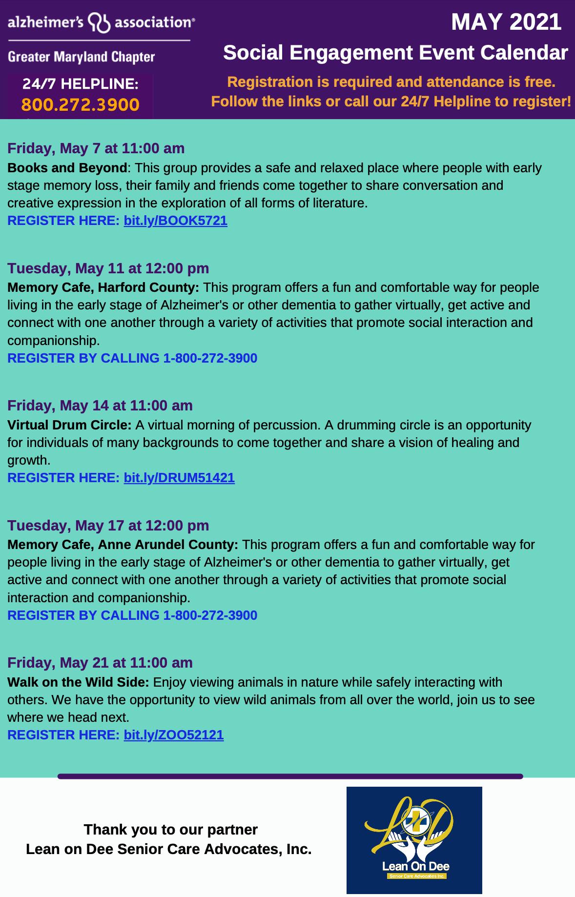 Social Engagement Event Calendar For May From Alzheimer's Association