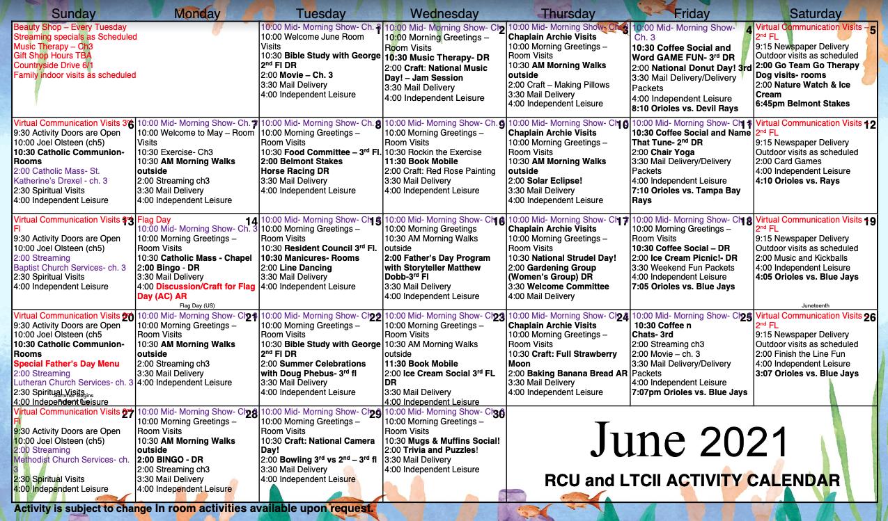 RCU And LTC II June Calendar