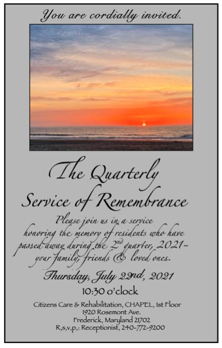 Quarterly Service Of Rememberance July 22, 2021