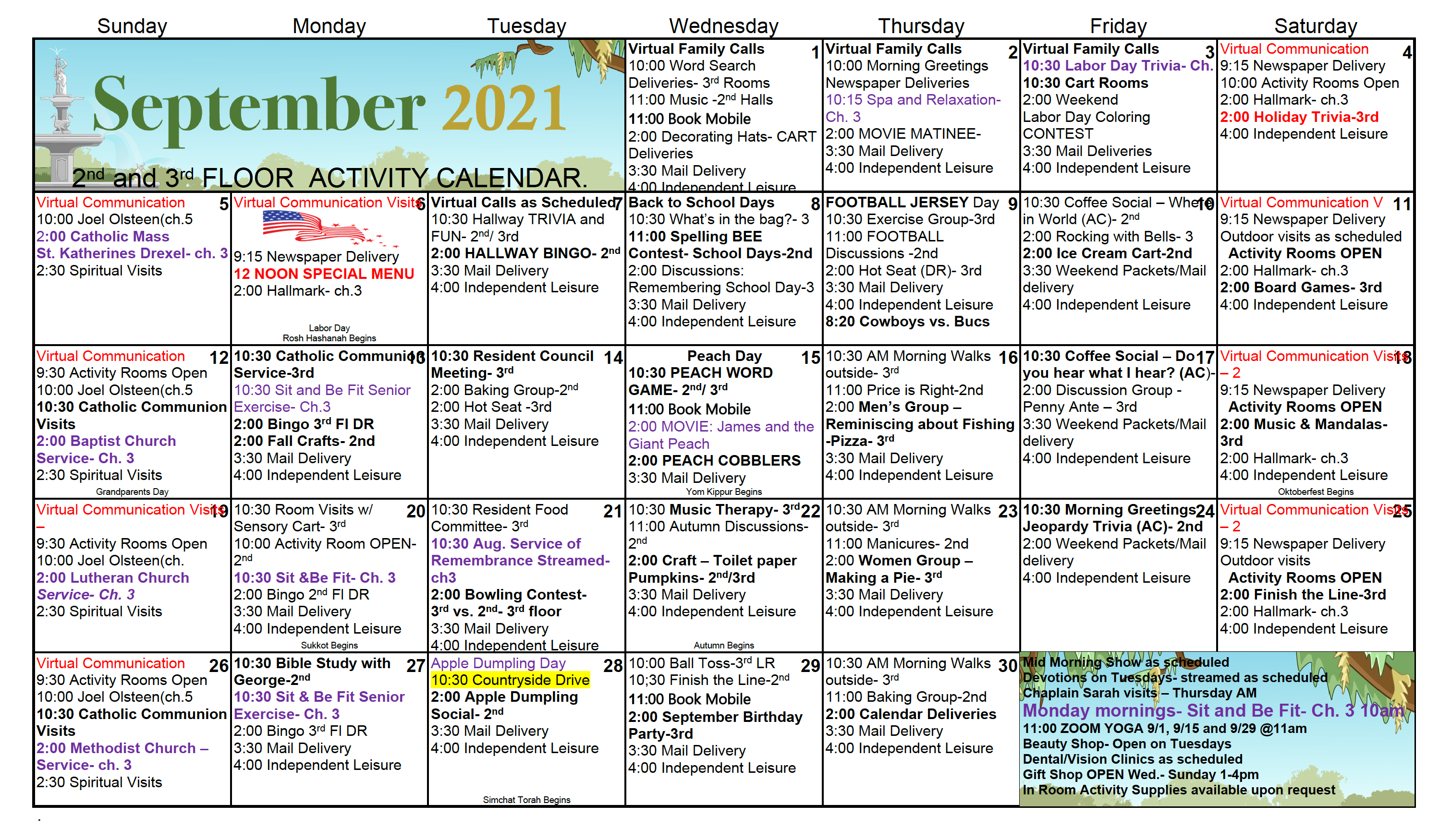 2nd And 3rd Floor Activity Calendar For Citizens Care Center