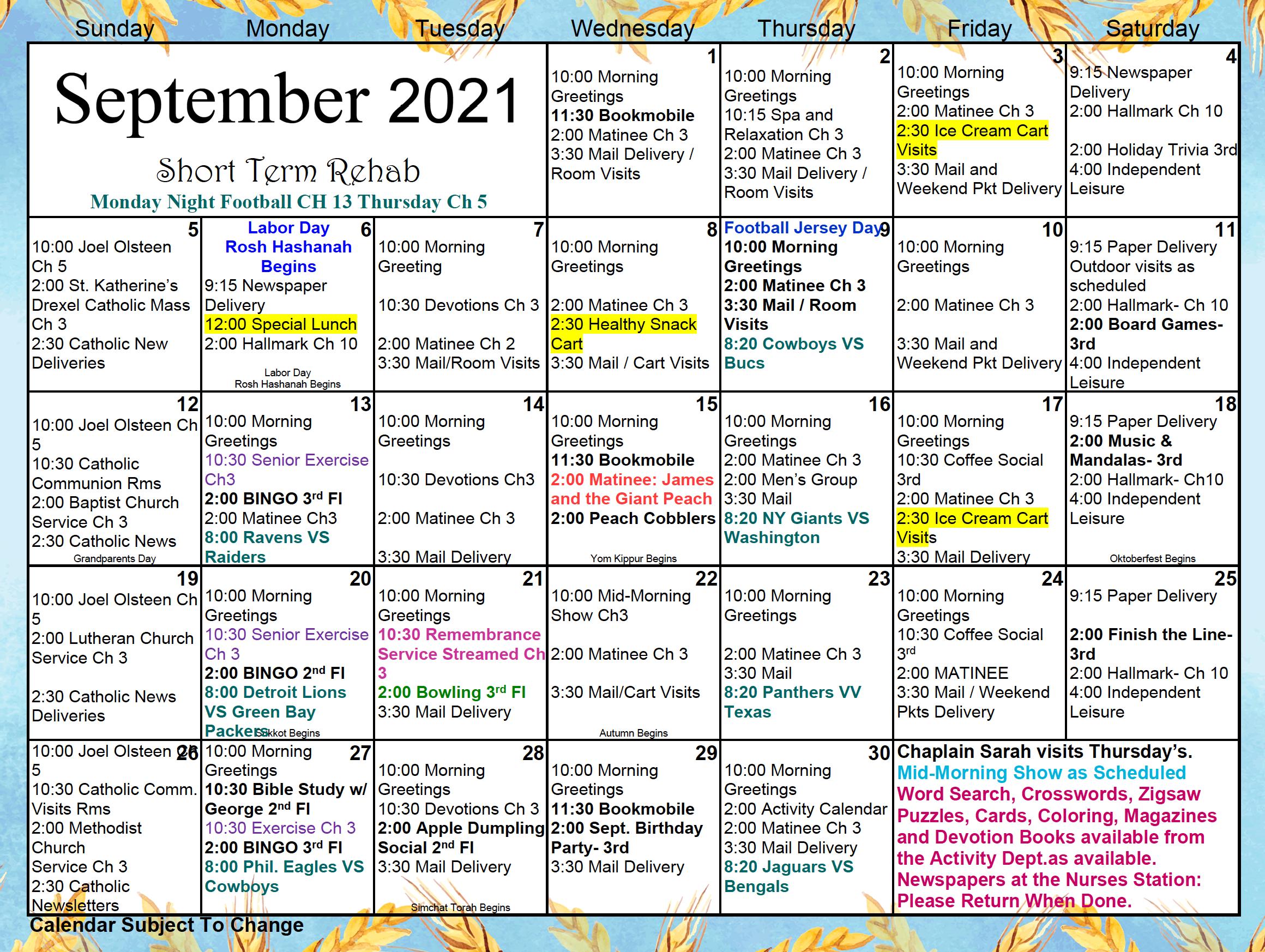 Short Term Rehab September Activity Calendar