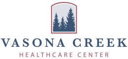 Vasona Creek Healthcare Center logo with pine trees