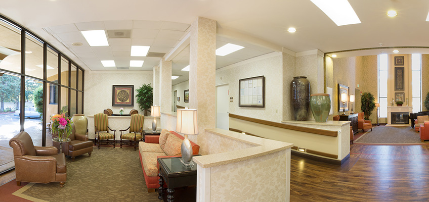 Beautiful, large lobby area with wheelchair access and vaulted ceilings