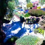 lush gardens and walking paths