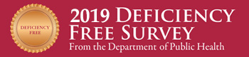 2019 Deficiency Free Survey from the Department of Public Health button