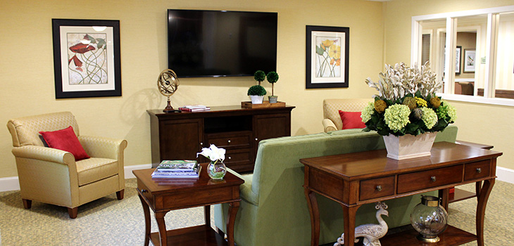 recreation room with a flat screen TV and comfortable upholstered chairs