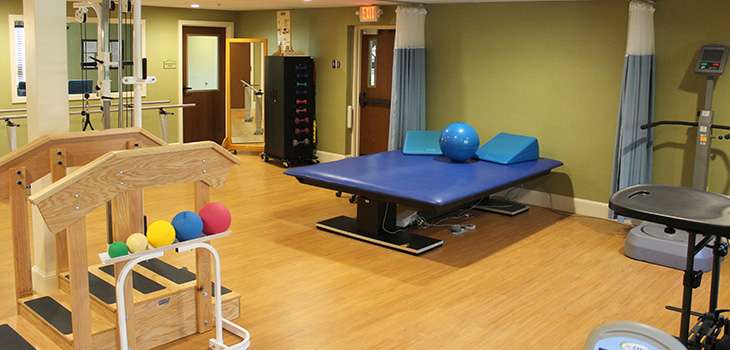 rehabilitation room with plenty of exercise equipment