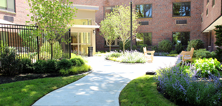 Presentation front entrance and outdoor walking paths