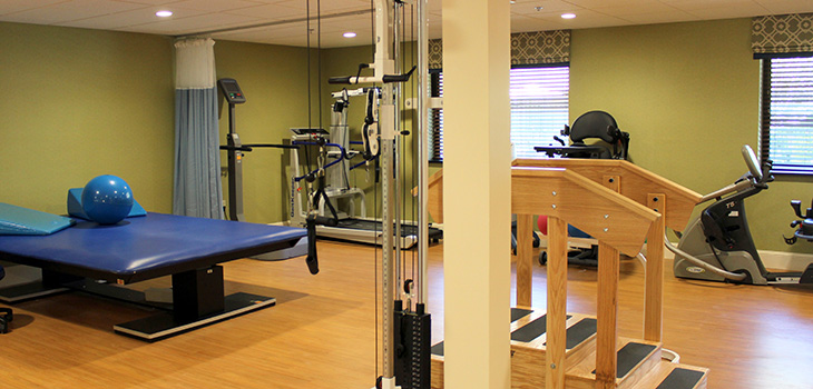 exercise equipment in rehab room