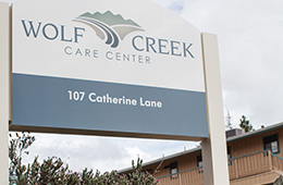 wolf creek care center signage