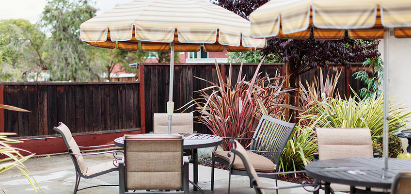 outside seating with umbrellas and tall plants